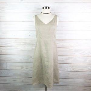 J. Crew Dress Linen Summer Flare Beige Size 4